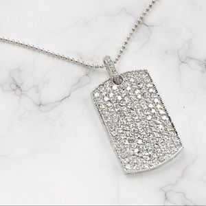 Other - CZ Encrusted Dog Tag Necklace